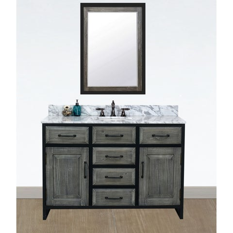 """48""""Rustic Solid Fir Single Sink Iron Frame Vanity in Grey-Driftwood Finish with Marble Top-No Faucet"""