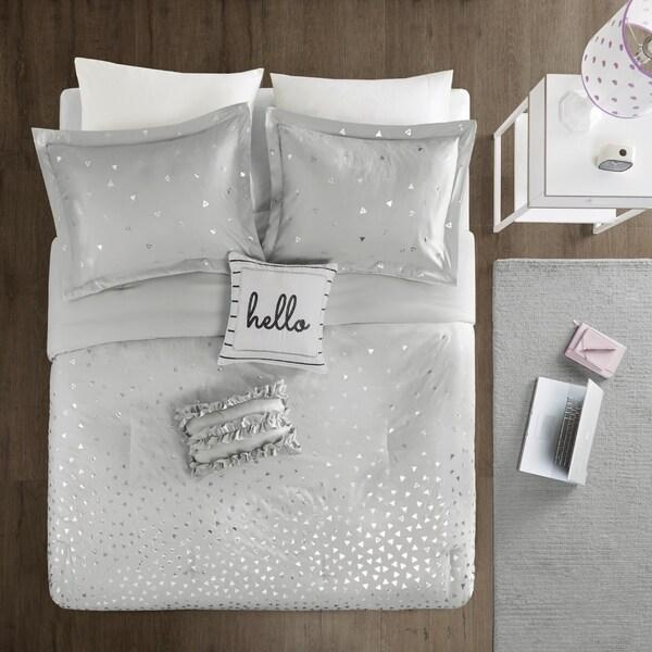 Grey//Silver 5 Piece Intelligent Design Zoey Metallic Triangle Print Ultra Soft Hypoallergenic Microfiber Comforter Set Bedding Full//Queen