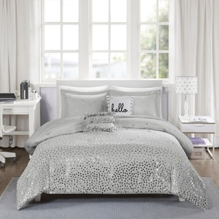 Intelligent Design Liv Metallic Triangle Print Comforter Set