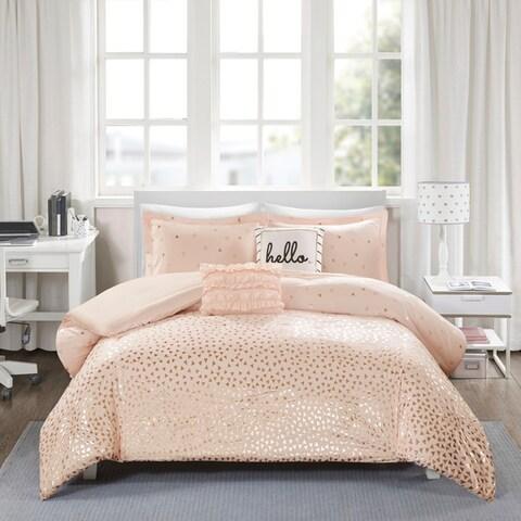 Intelligent Design Liv Metallic Triangle Print 5-piece Comforter Set 3-Color Option
