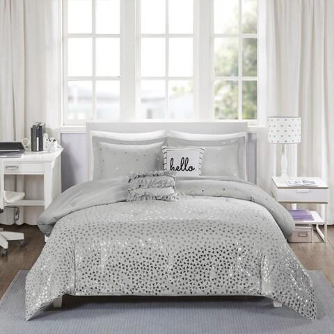 Intelligent Design Liv Grey/ Silver Metallic 5-piece Comforter Set