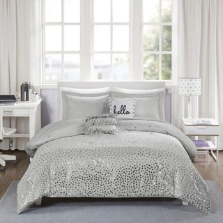 Intelligent Design Liv Grey/ Silver Metallic 5-piece Comforter Set