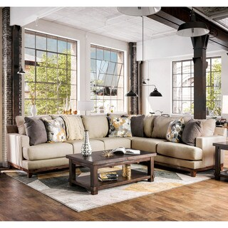 Furniture of America Cadena Contemporary Beige L-Shaped Sectional Sofa