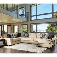 Furniture of America Gamino Contemporary Beige U-Shaped Sectional with Chaise