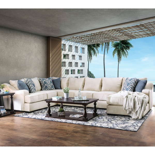 Furniture of America Williamson Contemporary Ivory U-Shaped Fabric Sectional with Chaise