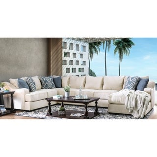 Furniture of America Williamson Contemporary Ivory U-Shaped Sectional with Chaise