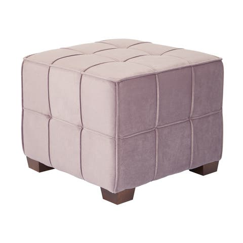 OSP Home Furnishings Sheldon Tufted Fabric Ottoman with Coffee Finished Legs