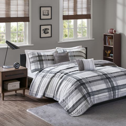 Intelligent Design Jax Black Plaid 5-piece Coverlet Set