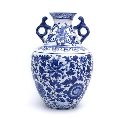 "Claybarn Blue Garden Porcelain 13"" Chinese Scroll Design Handled Vase"