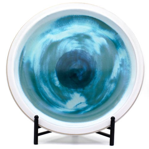 "ClayBarn Grotto Blue Ceramic 18"" Tropical Decorative Round Platter"