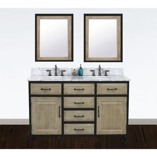 "Link to 60""Rustic Solid Fir Double Sink Iron Frame Vanity in Driftwood Finish with Marble Top-No Faucet Similar Items in Bathroom Vanities"