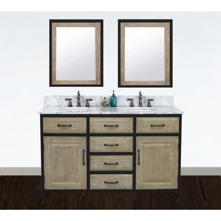 """60""""Rustic Solid Fir Double Sink Iron Frame Vanity in Driftwood Finish with Marble Top-No Faucet"""