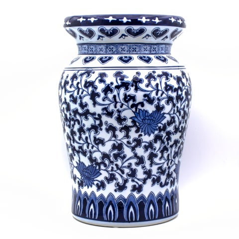 Claybarn Blue Garden Decorative Lotus Podium Stool