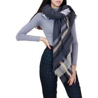 LA77 Women's Grey Fringe Striped Oblong  Scarf