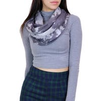 LA77 Women's Grey Graphic Pattern Infinity Scarf