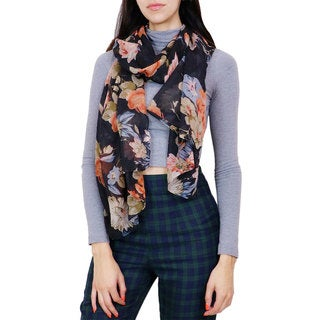 LA77 Women's Black Floral Oblong Scarf