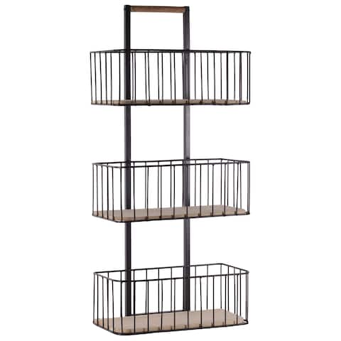 UTC52163: Metal Cart with 3 Tier Shelves and Wood Surface Coated Finish Black
