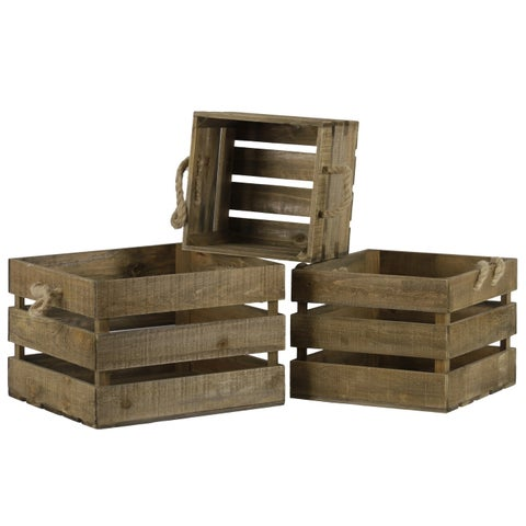 UTC53313: Wood Square Crate with Rope Side Handles Set of Three Natural Finish Brown