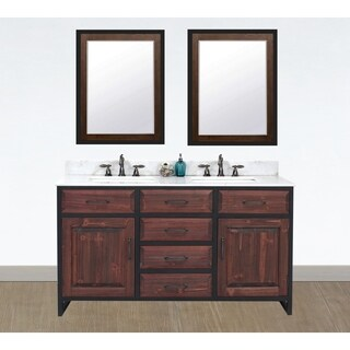 "60""Rustic Solid Fir Double Sink Iron Frame Vanity in Brown-Driftwood Finish with Marble Top-No Faucet"