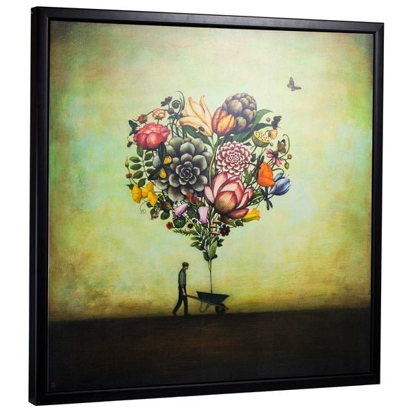 "American Art Decor Big Heart Botany by Duy Huynh Framed Canvas 35"" x 35"""