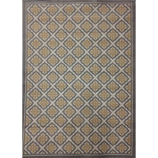 Shop Diamond Pattern Gray Yellow 5x8 Area Rug 5 3 Quot X7 6
