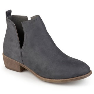 Journee Collection Women's 'Rimi' Round Toe Faux Suede Boots Size 6.5 in Black (As Is Item)