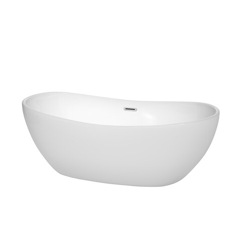 Rebecca 65-inch Freestanding White Bathtub with Trim Options