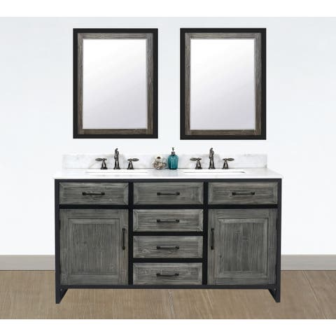 """60""""Rustic Solid Fir Double Sink Iron Frame Vanity in Grey-Driftwood Finish with Marble Top-No Faucet"""