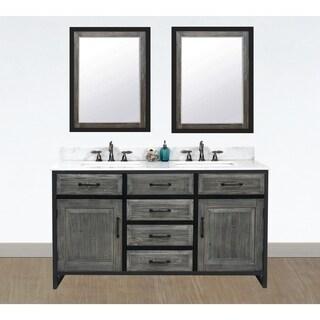 "60""Rustic Solid Fir Double Sink Iron Frame Vanity in Grey-Driftwood Finish with Marble Top-No Faucet"