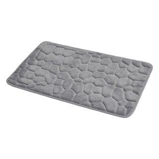 Evideco 3D Cobble Stone Shaped Memory Foam Bath Mat Microfiber Non Slip
