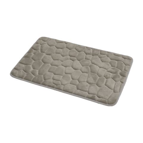 Evideco 3D Cobble Stone Shaped Memory Foam Bath Mat Microfiber NonSlip