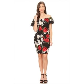 Women's Floral Pattern Bodycon Ruffled Dress