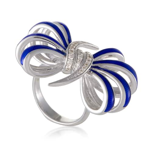 Forget Me Knot Enameled Silver and Diamond Bow Ring