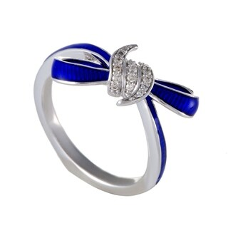 Forget Me Knot Small Enameled Silver and Diamond Bow Ring