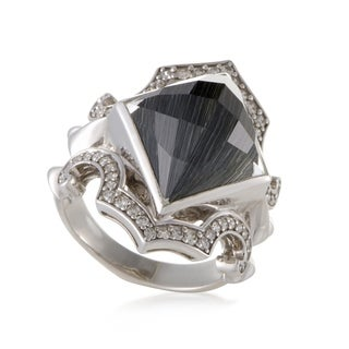 Superstud Silver Diamond Cat's Eye and Quartz Ring