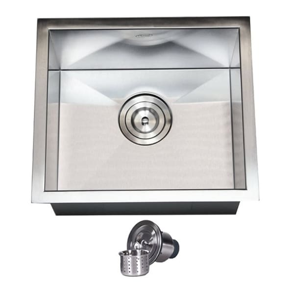 17-inch Stainless Steel 16 Gauge Single Bowl Zero Radius Undermount Bar Island Sink with Basket Strainer