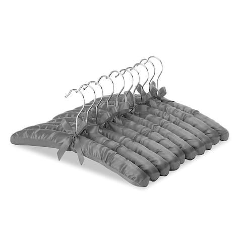 Whitmor Satin Padded Blouse Hangers, 10-Pack in Grey-Chrome Hook