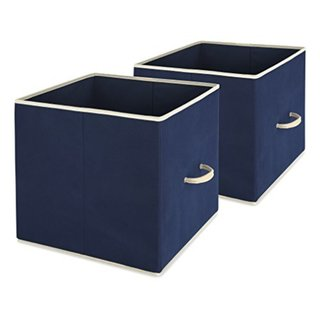 Whitmor Collapsible Storage Cubes Space Saving Design Navy, 2PK 14""