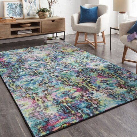 Silver Orchid Hinding Prismatic Distressed Area Rug