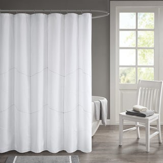 510 Design Talley White Solid Decorative Stitched Shower Curtain with Liner