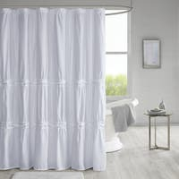 510 Design Denice Solid Ruched Shower Curtain with Liner 3 Color Option