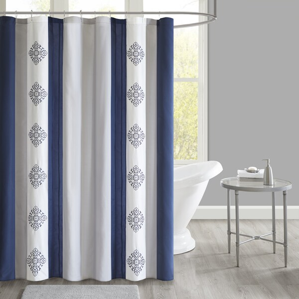 Shop 510 Design Donetta Navy Embroidered And Pieced Shower Curtain With Liner