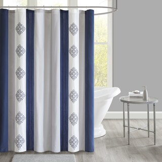 510 Design Donetta Navy Embroidered and Pieced Shower Curtain with Liner