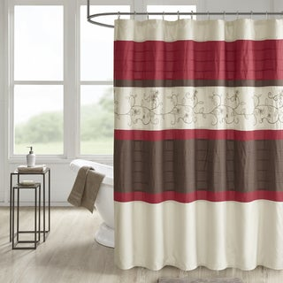 510 Design Lecia Embroidered and Pintucked Shower Curtain with Liner 2 Color Option
