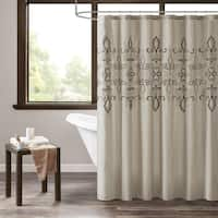 510 Design Salvan Natural Embroidered Shower Curtain with Liner