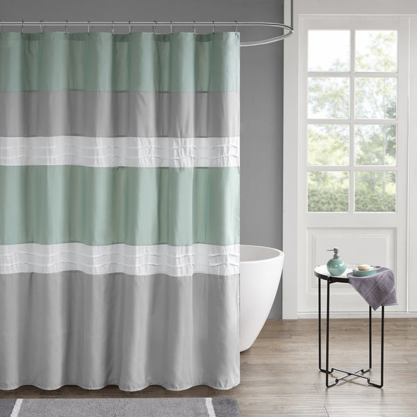 510 Design Irvine Seafoam/ Grey Pieced and Pintucked Shower Curtain with Liner