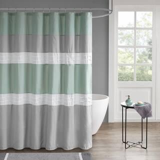 Grey And Green Shower Curtain 510 Design Irvine Seafoam Pieced Pintucked