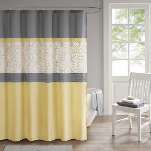 510 Design Shane Yellow/ Gray Embroidered and Pieced Shower Curtain with Liner