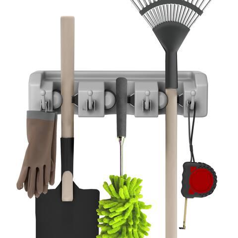 Shovel, Rake and Tool Holder with Hooks- Wall Mounted Organizer-Space Saving Racks by Stalwart (2 Pack)