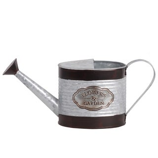 UTC56601: Zinc Oblong Watering Can Painted Black Banded Rim Top and Bottom, and Ribbed Design Galvanized Finish Silver
